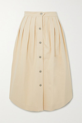 Giuliva Heritage Collection Pleated Cotton-blend Midi Skirt - Cream
