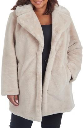 Rachel Roy Faux Fur Notch Lapel Coat (Plus Size)