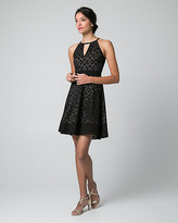 Le Château Laser Cut Stretch Piqué Halter Neck Dress