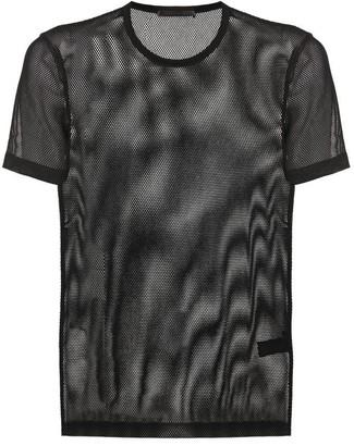 Helmut Lang Logo Printed Mesh T-Shirt