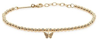 Zoë Chicco Midi Bitty Symbols 14K Yellow Gold Butterfly Charm Bead Chain Bracelet