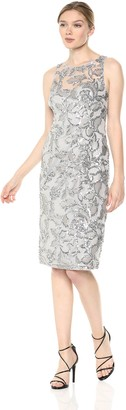Adrianna Papell Women's Halter Illusion Neckline Sequin Embroidered Sheath Dress