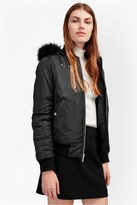 French Connection Varsity Bomber With Faux Fur Hood Jacket