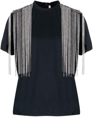 Christopher Kane fringed embellished shoulders T-shirt
