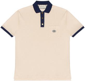 Gucci Short Sleeve Polo in Bone & Inchiostro | FWRD