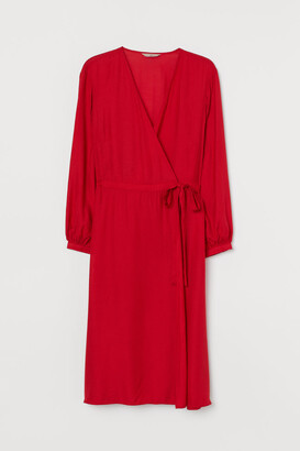 H&M H&M+ V-neck Wrap Dress - Red