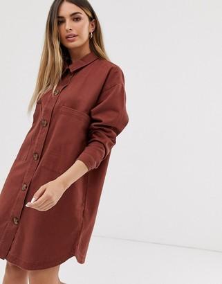 JDY oversized denim shirt in rust-Brown