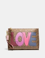 Coach Charlie Pouch In Signature Canvas With Love Print