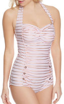 Betsey Johnson Shimmer Stripes One-Piece Swimsuit