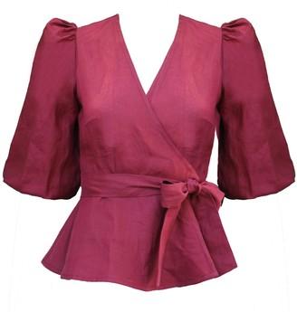 Onīrik Ellen Wrap Top In Scarlet Red Linen