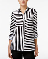 Alfred Dunner City Life Striped Roll-Tab Shirt