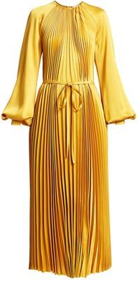 Oscar de la Renta Puff-Sleeve Satin Pleated Tie-Front Dress
