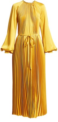 Oscar de la Renta Puff-Sleeve Satin Pleated Tie-Front Dress