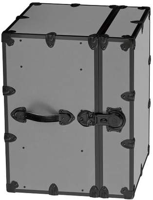 Pottery Barn Teen Canvas Dorm Trunk with Black Trim, Bedside, Silver