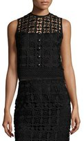 Nanette Lepore Sleeveless Boxy Lace Top, Black