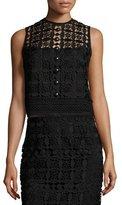 Nanette Lepore Sleeveless Boxy Lace Top, Black