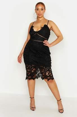 boohoo Plus Premium Crochet Lace Stappy Midi Dress
