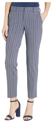 Liverpool Kelsey Knit Trousers in Novelty Print (Blue/White Herringbone Stripe) Women's Casual Pants