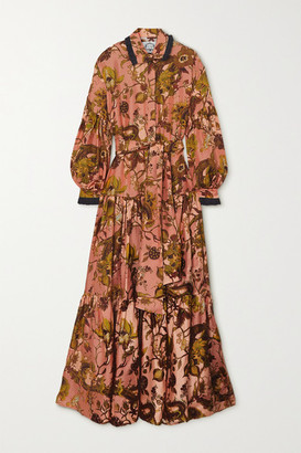 Evi Grintela Greatness Belted Lace-trimmed Tiered Floral-print Silk-twill Maxi Shirt Dress - Peach