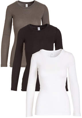 Pima Apparel Women's Tee Shirts Black, - Black, White & Gray Long-Sleeve Tee Set - Women