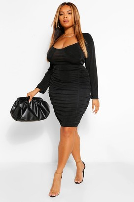 boohoo Plus Textured Slinky Ruched Bodycon Dress