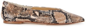 AEYDĒ Moa snake-print leather flats