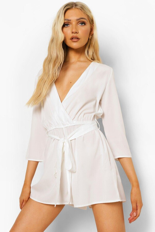boohoo Wrap Front Belted romper