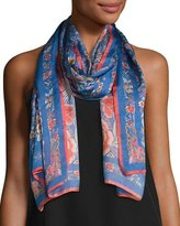 Roberto Cavalli Enchanted Garden Silk Satin Scarf, Blue