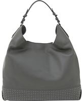 Mint Velvet Hayley Stud Panel Leather Shoulder Bag, Mid Grey