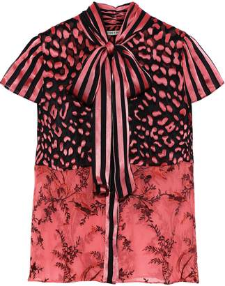 Alice + Olivia Jeannie Pussy-bow Burnout Silk-blend Satin Blouse