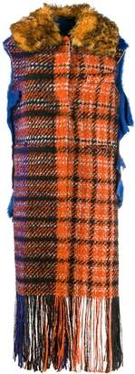 Marni sleeveless plaid fringe coat
