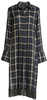 Mother of Pearl Delphine Fringed Plaid Tunic Shirt