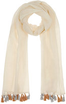 Barneys New York WOMEN'S FIESTA TASSEL WOOL GAUZE SCARF