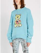 Amiri Teddy-embroidered cotton-blend jumper