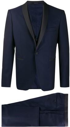 Tagliatore Contrast Lapel Three-Piece Suit