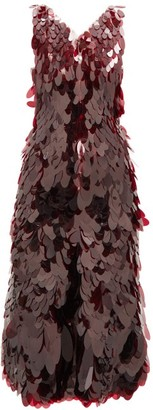 Paco Rabanne V-neck Sequin-chainmail Midi Dress - Burgundy