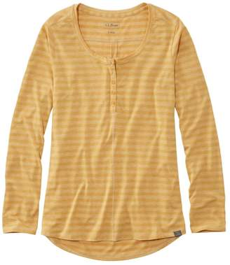 L.L. Bean L.L.Bean Women's Tencel Blend Long Sleeve Henley, Stripe