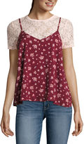 Self Esteem Short-Sleeve Floral Lace Layered Top - Juniors