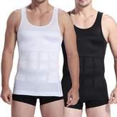 iBuylinks Mens Slim Body Shaper Compression Elastic Undershirt, Tank Vest Shapewear, Abs Abdomen Slim Compression (S-XXL, White/) + Free Gift 1pc RFID Block Sleeve (, Small see Size Chart)