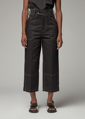 Marni Women's Cropped Trouser with Contrast Stitching Pants in Black Size 38 Cotton/Linen