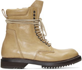Rick Owens Camel Leather Army Boots