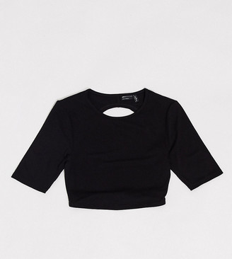 Asos Tall ASOS DESIGN Tall crop top with open back and half sleeve in black