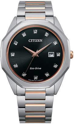 Citizen Mens Diamond Accent Two Tone Stainless Steel Bracelet Watch-Bm7496-56g