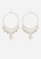 Bebe Crystal Drop Hoop Earrings