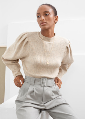 And other stories Mock Neck Puff Sleeve Sweater