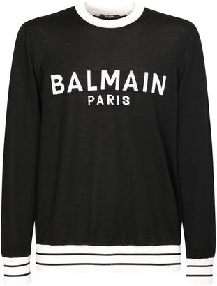 Balmain Logo Intarsia Wool Knit Sweater
