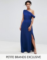 John Zack Petite Drapey One Shoulder Maxi Dress
