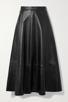 Co Paneled Leather Midi Skirt - Black