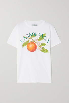 Casablanca Printed Cotton-jersey T-shirt - White