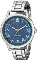 Nine West Women's NW/1691BLSB Easy-To-Read Blue Silver-Tone Watch